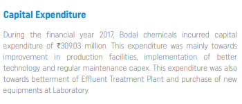 bodal chemicals capital expenditure